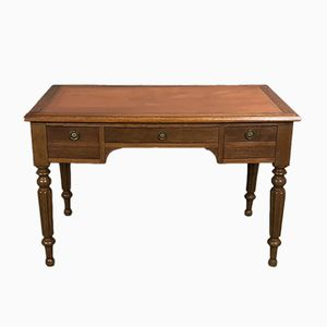 French Oak Desk with Leather Top, 1950s