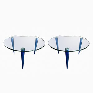 Crystal and Lucite Coffee Tables, 1970s, Set of 2