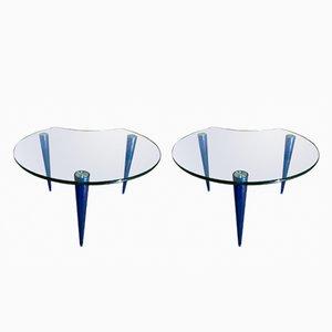 Mesas de centro de cristal y lucite, años 70. Juego de 2