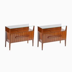 Mid-Century Italian Night Stands with Glass Tops, 1950s, Set of 2
