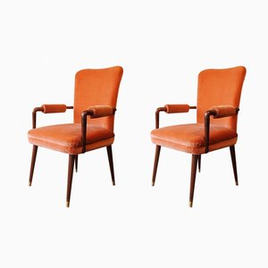 Italian Velvet Armchairs, 1960s, Set of 2