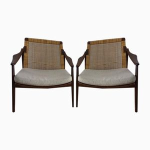 Cane & Teak Lounge Chairs by Ib Kofod-Larsen for Selig, 1960s, Set of 2