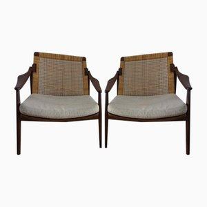 Sessel aus Schilfrohr & Teakholz von Hartmut Lohmeyer für Wilkhahn, 1960er, 2er Set