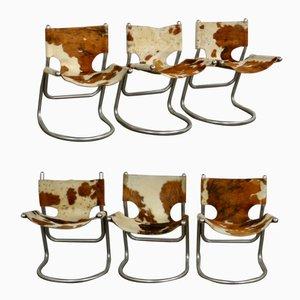Stühle mit Rindsleder, 1960er, 6er Set