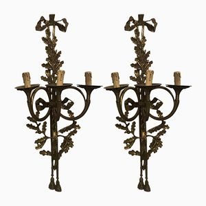 Vintage French Brass & Cast Bronze Wall Lights, Set of 2