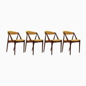 Esszimmerstühle aus Teak von Kai Kristiansen für Schou Andersen, 1960er, 4er Set