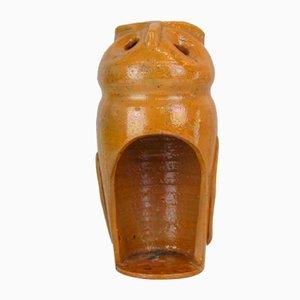 Portacandele in ceramica a forma di gufo, anni '50