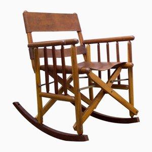 Schaukelstuhl mit Sitzbezug aus Leder, 1970er