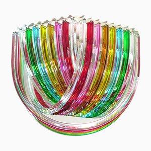 Lampadario grande Curvati color arcobaleno, 1983