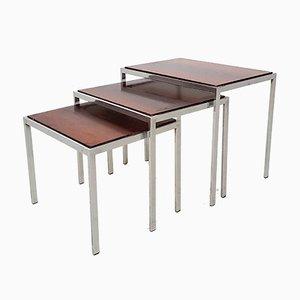Tavolini ad incastro vintage in metallo cromato, palissandro e formica, set di 3