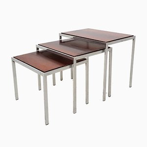 Vintage Chrome, Rosewood & Formica Nesting Tables, Set of 3