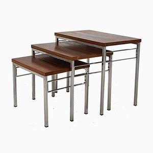 Vintage Chromed Metal & Rosewood Nesting Tables, 1960s, Set of 3