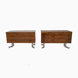 Rosewood & Chrome Desk Cabinets, 1970s, Set of 2