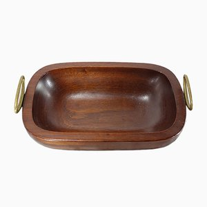 Large Viennese Teak Bowl with Brass Handles by Carl Auböck, 1950s