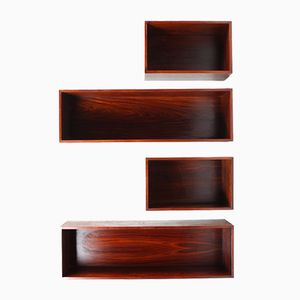 Wall-Mounted Bookcases by Ib Kofod Larsen for Faarup Møbelfabrik, 1960s, Set of 4