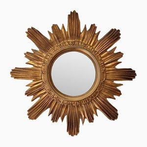 Italienischer Vintage Spiegel mit Rahmen in Sonnen-Optik, 1970er
