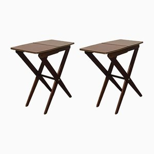 Small Teak & Formica Folding Side Tables, 1950s, Set of 2