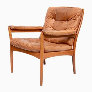 Swedish Caramel Leather Armchair from Göte Möbler, 1960s
