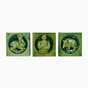 Decorative Tiles with Hunter Motifs, 1930s, Set of 3