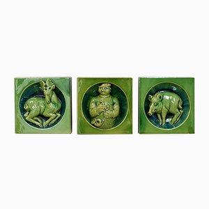 Piastrelle decorative con motivi di caccia, anni '30, set di 3