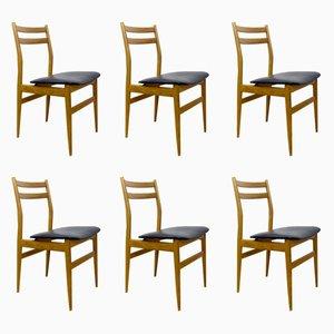 Skandinavische Eschenholz Stühle, 1960er, 6er Set