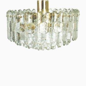 Lustre Vintage en Laiton Doré et Cristal de Kalmar, Autriche