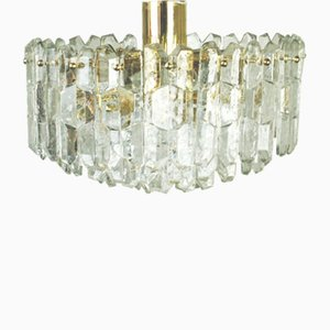 Vergoldeter österreichischer Vintage Kronleuchter aus Messing & Kristallglas von Kalmar
