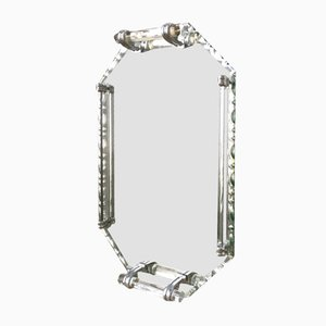 Bandeja Art Déco vintage de espejo biselado