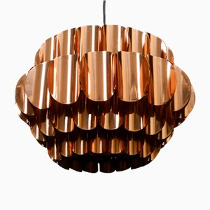 Large Vintage Copper Pendant Lamp from Temde
