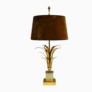 Regency Brass Pineapple Leaf Table Lamp from Boulanger, 1970s
