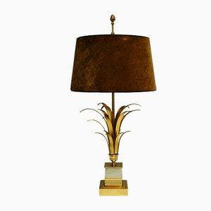 Regency Tischlampe aus Messing mit Säule in Ananasblatt-Optik von Boulanger, 1970er