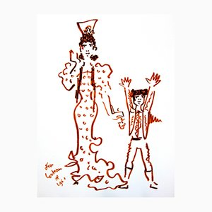 Mother and Son Lithograph by Jean Cocteau, 1965