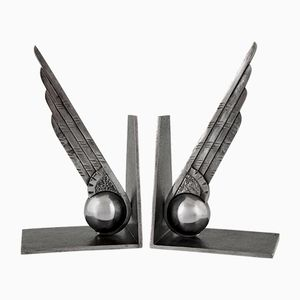 Vintage Art Deco Wrought-Iron Wing & Ball Bookends by Edgar Brandt, 1930s