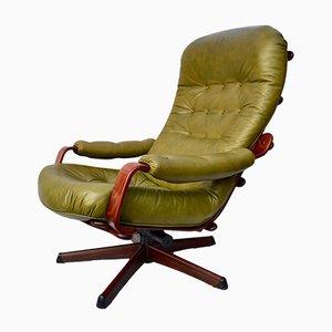 Sedia a dondolo reclinabile vintage in mogano e pelle verde di Göte Möbler