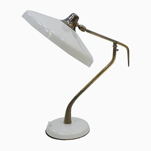 Mid-Century White Steel & Brass Table Lamp by Oscar Torlasco for Lumi, 1950s