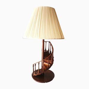 Spanische Tischlampe aus Holz mit Säule in Treppen-Optik von Hanbel, 1980er