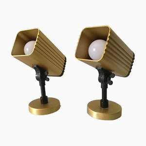 Vintage Gold-Colored Aluminum Wall Lights, 1970s, Set of 2