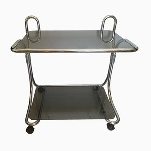 Vintage Chrome & Glass Serving Bar Cart, 1970s