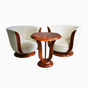 Vintage Art Deco Couchtisch & 2 Sessel