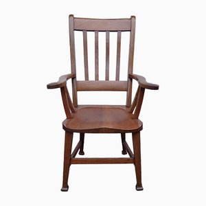 Art Nouveau British Oak Armchair from Bennett Bros Birmingham, 1890s