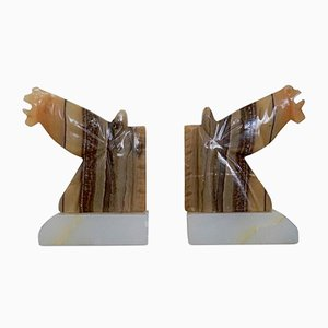 Vintage Marble Horse Head Bookends by Per Linnemann-Schmidt, Set of 2