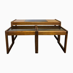 Mid-Century Teak & Glass Nesting Tables, Set of 3
