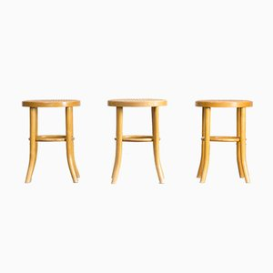 Vintage Maple & Papercord Stools from TON, Set of 3