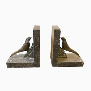 Art Deco British Marble and Metal Bookends, 1930s