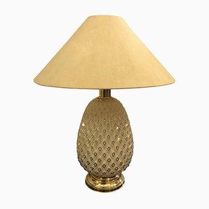 Italienische Tischlampe aus Messing & Glas in Ananas-Optik, 1970er