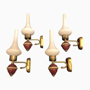 Mid-Century Modern Italian Brass Wall Sconces, 1950s, Set of 4
