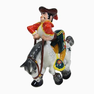 Vintage Ceramic Matador on Horseback Sculpture by Ugo Zaccagnini, 1950s