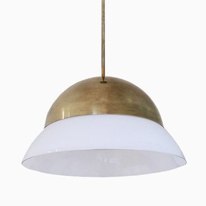 Italian Brass and Glass Ceiling Lamp, 1960s
