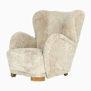 Dänischer Sessel mit Schafsfellbezug, 1930er