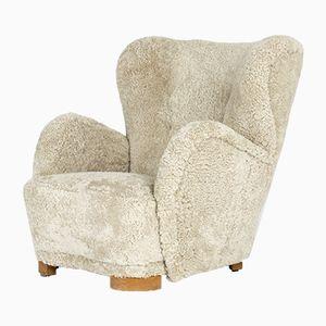 Danish Sheepskin Lounge Chair, 1930s
